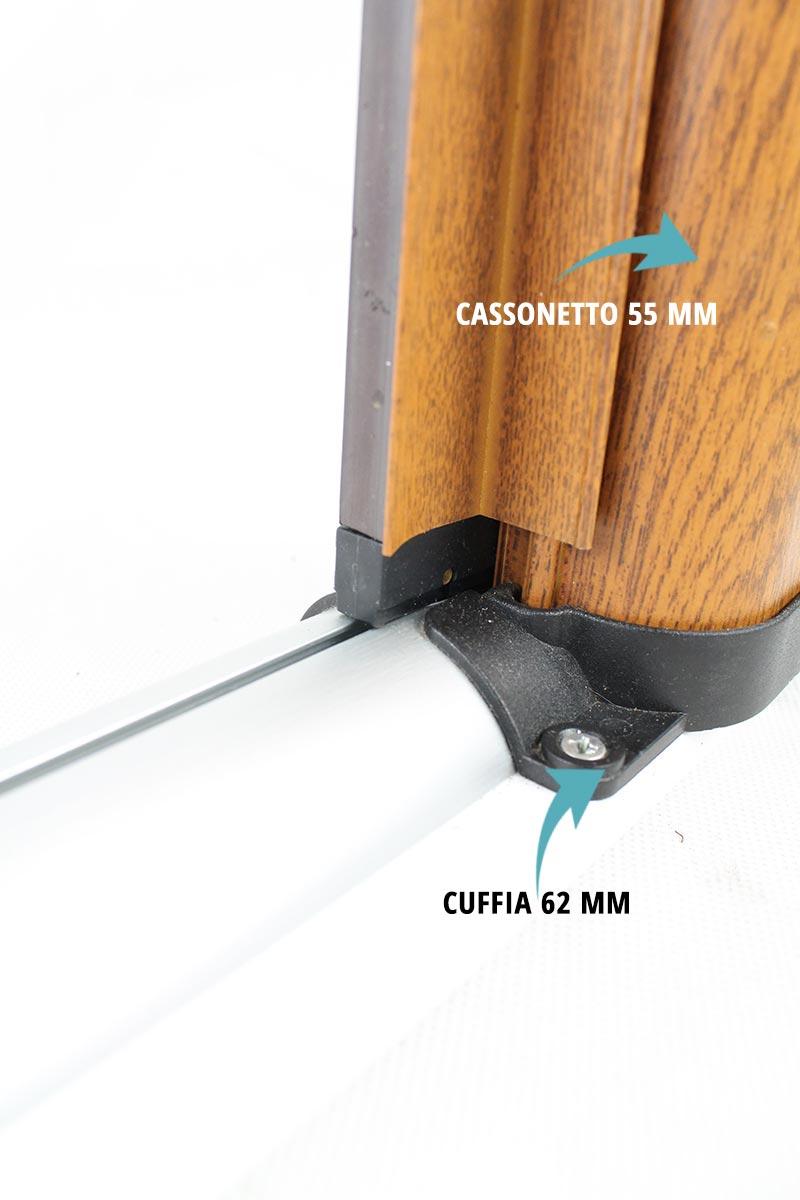 Zanzariera laterale con guida calpestabile sottile 12 mm a forma arrotondata
