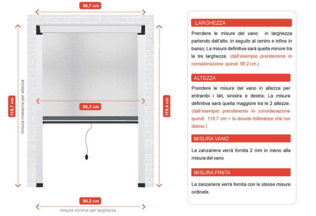 Zanzariera verticale per spazi ridotti con cassonetto piccolo da 40 mm