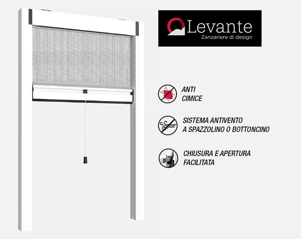Zanzariera verticale LEVANTE V45 anticimice ad apertura facilitata